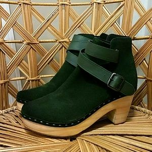 New Free People Bungalow Clog Boot In Green